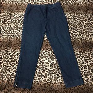 Lafayette 148 Ankle Zip Straight Leg Crop Jeans